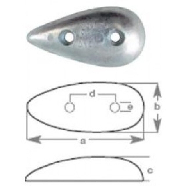 Anode Teardrop With Holes 90x45x14mm (191048)