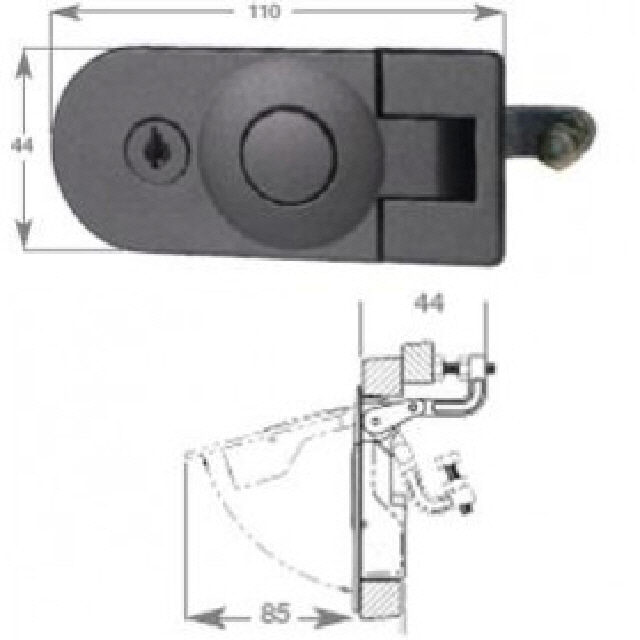 Catch Door Lever C/W Lock C/P Zinc Alloy (193140)