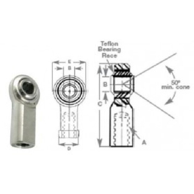 Rod End 1/2 Stainless Steel Teflon (309744)